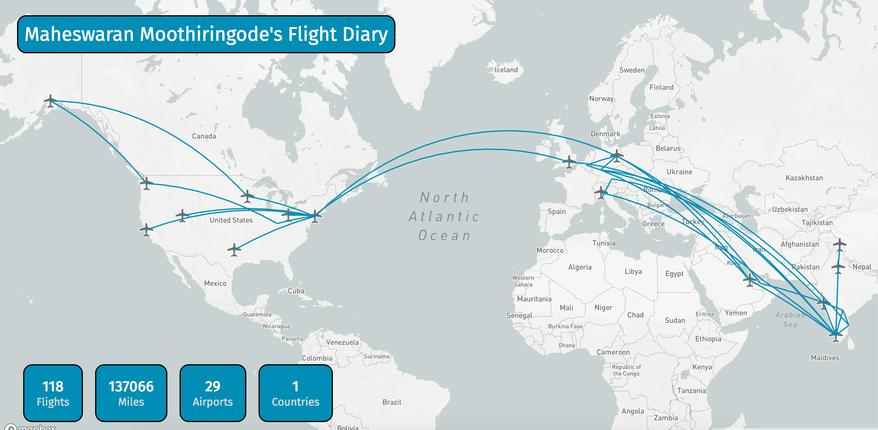 image of all flights i took over a world map